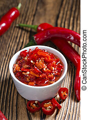 Bowl with preserved red Chilis - Small bowl with preserved...