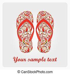 Flip flops, made of the leaf pattern. Vector EPS10...