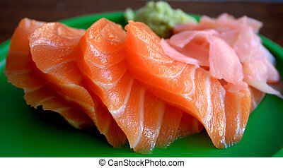 sushi - fresh salmon sushi on a plate