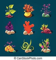 Set of Cartoon Algae, Elements for Aquarium Decoration - Set...