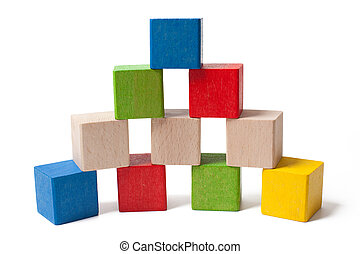colorful wooden toy blocks isolated on white background