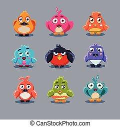Funny Cartoon Birds, Vector Illustration