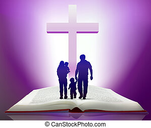 bible and family - Illustration of open bible with family...