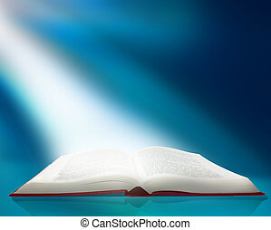 ray of light on book - A ray of light shines on the pages of...