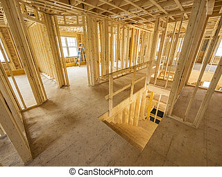 New house interior construction - New house interior framing...