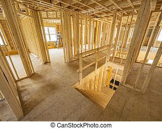 nuevo, casa, interior, construcción,