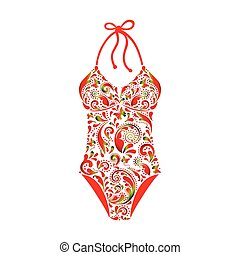 Swimsuit made from a beautiful floral pattern