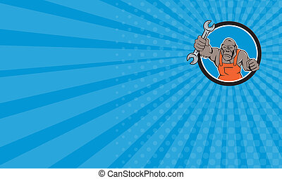 Business card Angry Gorilla Mechanic Spanner Circle Cartoon...