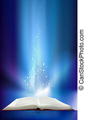 magic blue book - Magic book with lights and stars lighting...