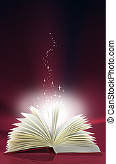 magic book - A magic book with light and stars emanating...