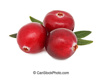 Three ripe cranberries with green leaves (isolated)