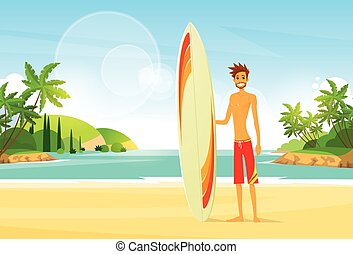 Surfer Man with Surfing Board Palm Tree Summer Holiday