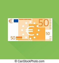 Euro Banknote Flat Design with Shadow Vector Illustration