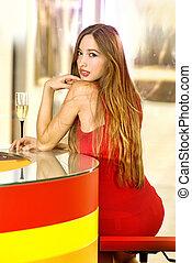 beautiful single woman in a bar - beautiful single woman in...