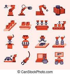 Icons - Robot and conveyor belt icons sets
