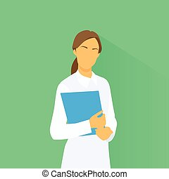 Medical Doctor Profile Icon Female with Folder Portrait Flat...