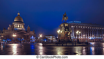PETERSBURG, RUSSIA-JANUARY 1: St Isaac's Square on Christmas...