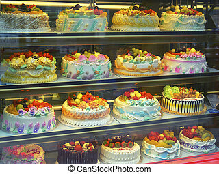 London ChinaTown Cakes - cakes in a window of a china town...