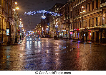 Nevskiy prospectus street with Christmas illumination