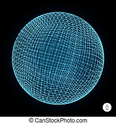 3d sphere. Global digital connections. Technology concept. -...