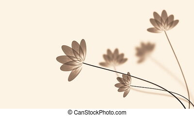 Transparent lotus - White background swaying transparent...