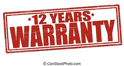 Twelve years warranty - Stamp with text twelve years...
