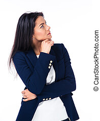 Portrait of a pensive businesswoman looking away isolated on...