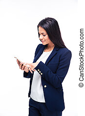 Happy businesswoman using smartphone over white background