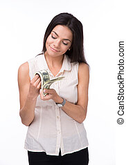 Happy woman counting money