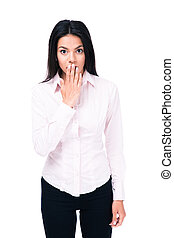 Surprised young businessman covering mouth by hand and...