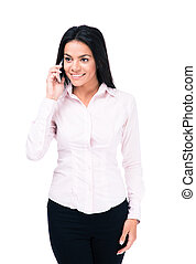 Smiling businesswoman talking on the phone isolated on a...