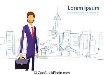 Businessman Cartoon over Sketch City Skyscraper Vector