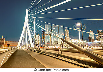 Rotterdam night skyline, Netherlands.