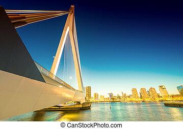 Rotterdam skyline from Erasmus Bridge.