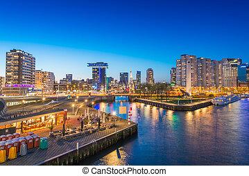 Rotterdam night skyline, Netherlands