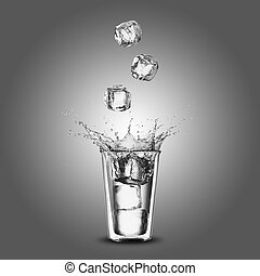 Glass of Water With Ice Cubes Falling