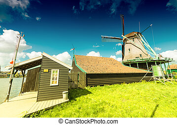 Wind mills in Zaanse Schans, Netherland. Holland.