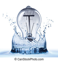 Light Bulb with Water Splash on White Background