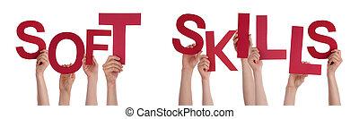 gente, Manos, tenencia, rojo, palabra, suave, habilidades,