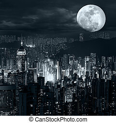 Hong Kong skyline at full moon night - Night aerial view...