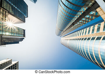 Abstract futuristic cityscape view with modern skyscrapers....