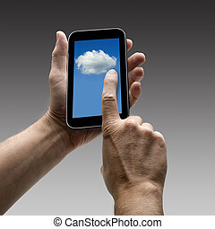 Holding Clouds screen on smart phone. There is a route for...