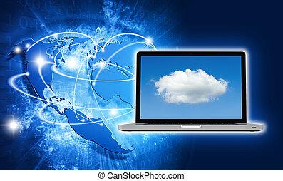 azul, Vívido, imagem, de, globo, e, laptop, com,...