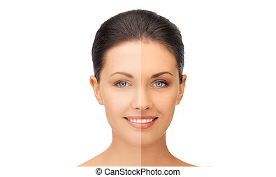 beautiful woman with half face tanned - beauty and health...