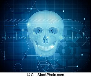 Human skull detailed anatomy - Human skull abstract blue...