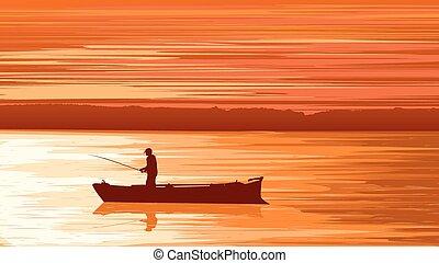 Fisherman against orange sunset - Vector panorama...