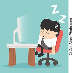 businessman sleep at his office