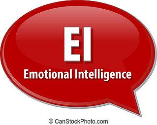 EI, acronyme, mot, parole, bulle, Illustration,