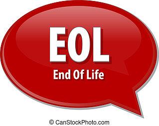 EOL, acronyme, mot, parole, bulle, Illustration,