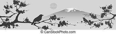 Japanese design with Fuji mountain and Sakua Tree